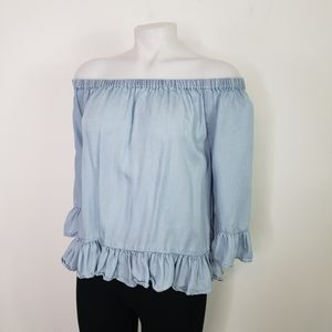 Jane and Delancey off shoulder chambray ruffle top